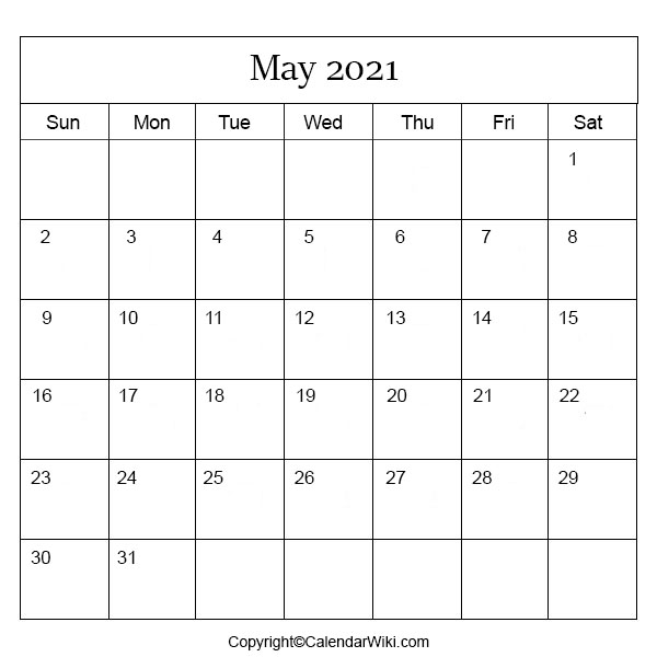 May Month Calendar 2021
