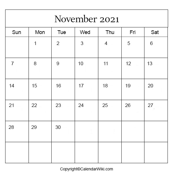 November Month Calendar 2021