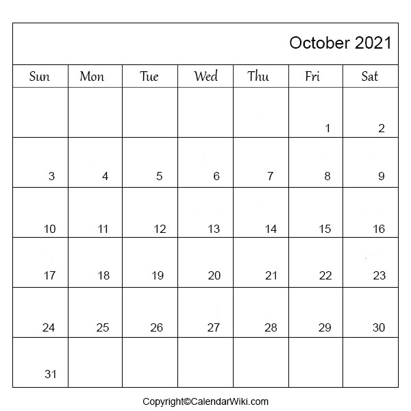 October 2021 Monthly Calendar
