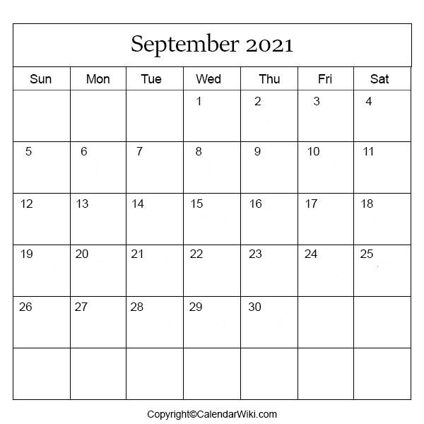 September Month Calendar 2021