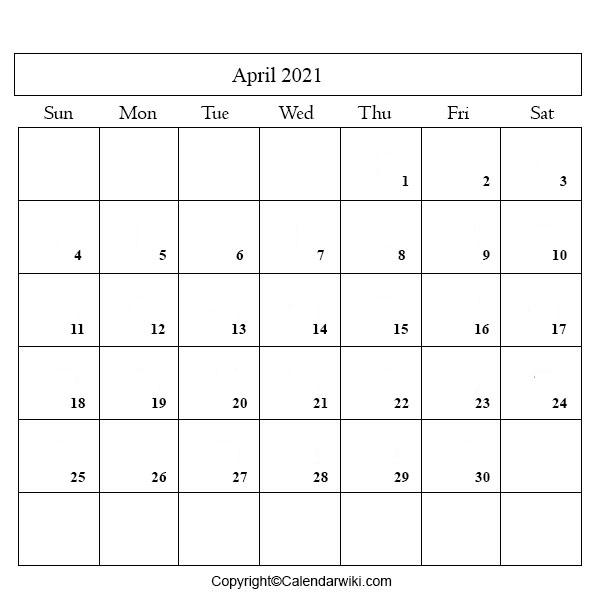 2021 Calendar April