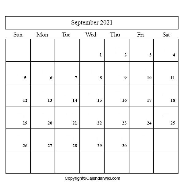 2021 Calendar September