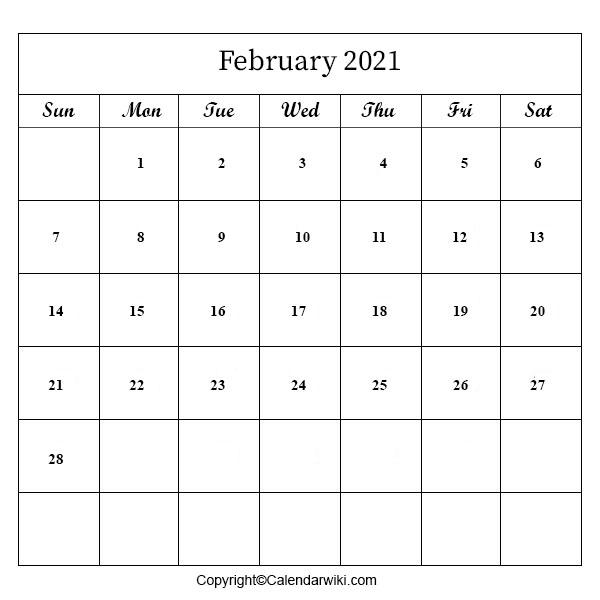 2021 February Calendar