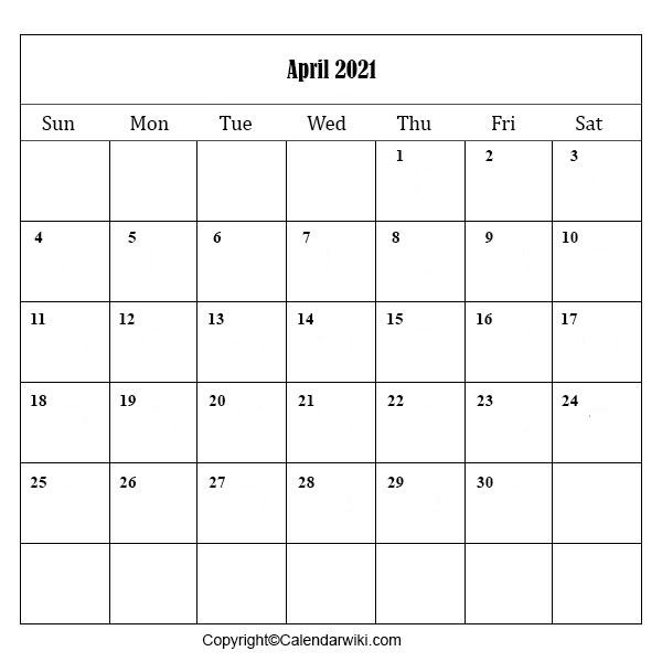 April Calendar 2021 Printable