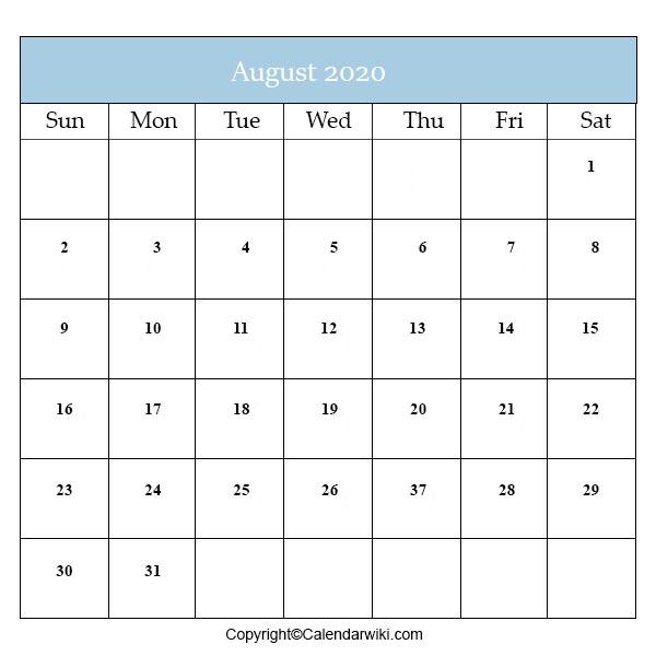 Calendar 2020 August