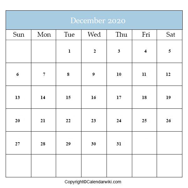 Calendar 2020 December