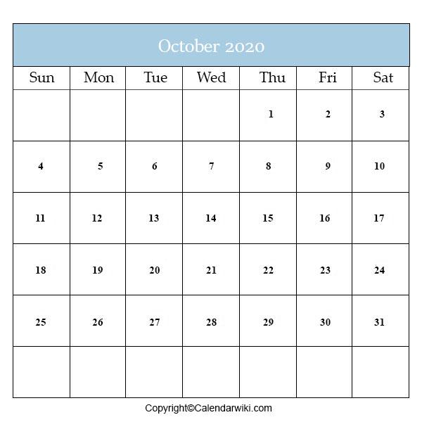 Calendar 2020 October