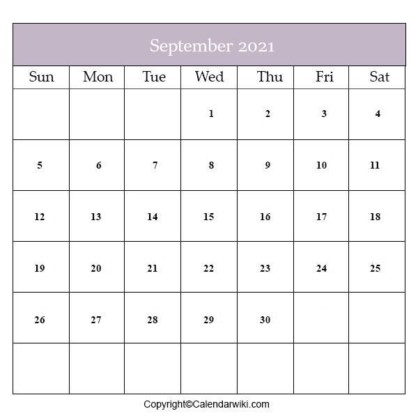 Calendar 2021 September