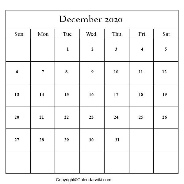December Calendar 2020
