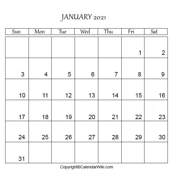 January Calendar 2021 Printable