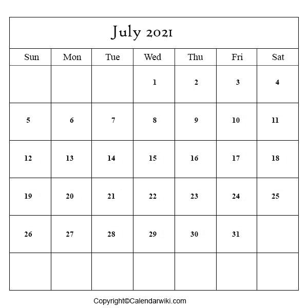 July Calendar 2020