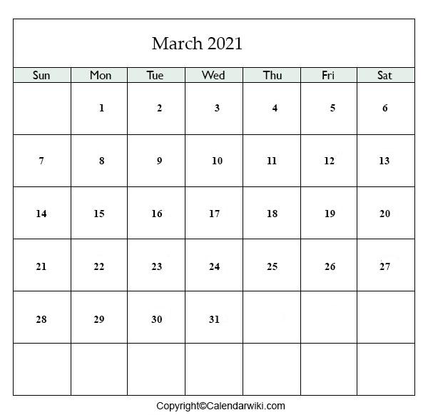 March 2021 Printable Calendar