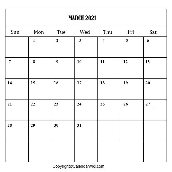 March Calendar 2021 Printable