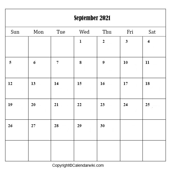 September Calendar 2021 Printable