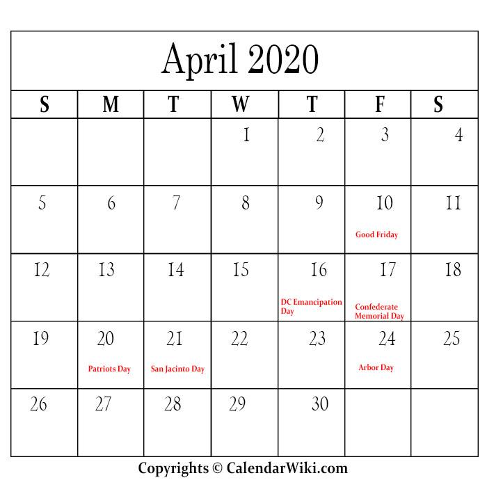 April Calendar 2020 With Holidays