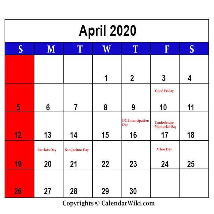 April Holidays 2020