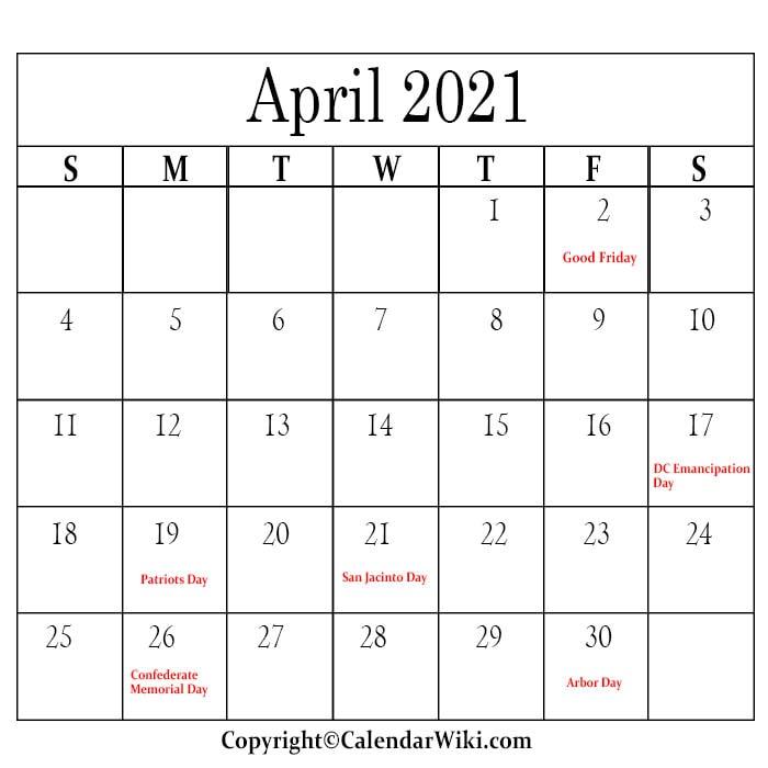 April Holidays 2021