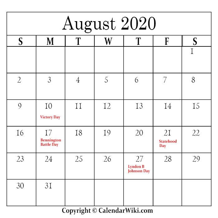 August Holidays 2020