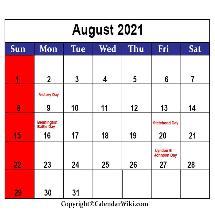 August Holidays 2021