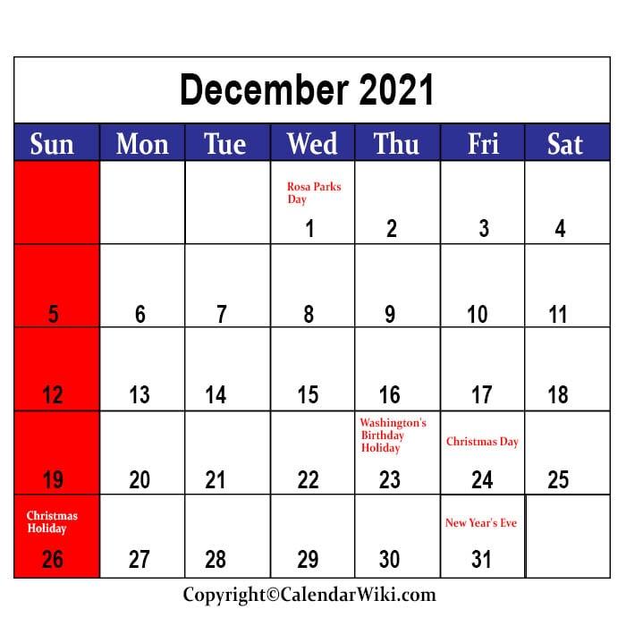 December Calendar 2021 With Holidays