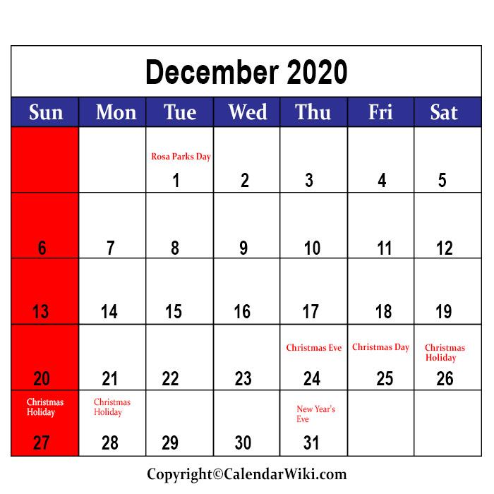 December Holidays 2020