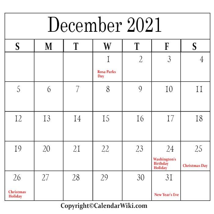 December Holidays 2021