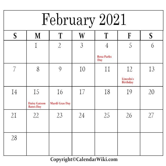 February Calendar 2021 With Holidays