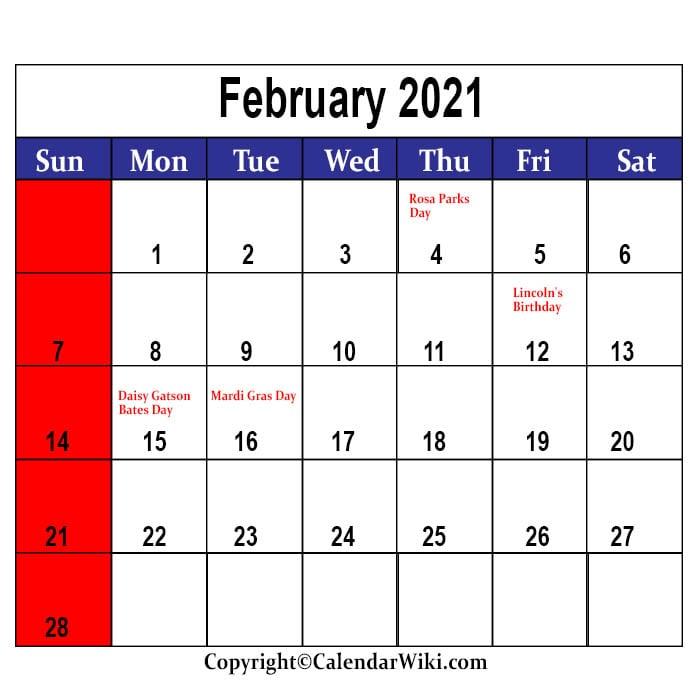 February Holidays 2021