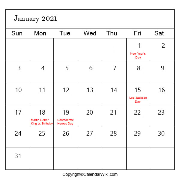 January Calendar 2021 With Holidays