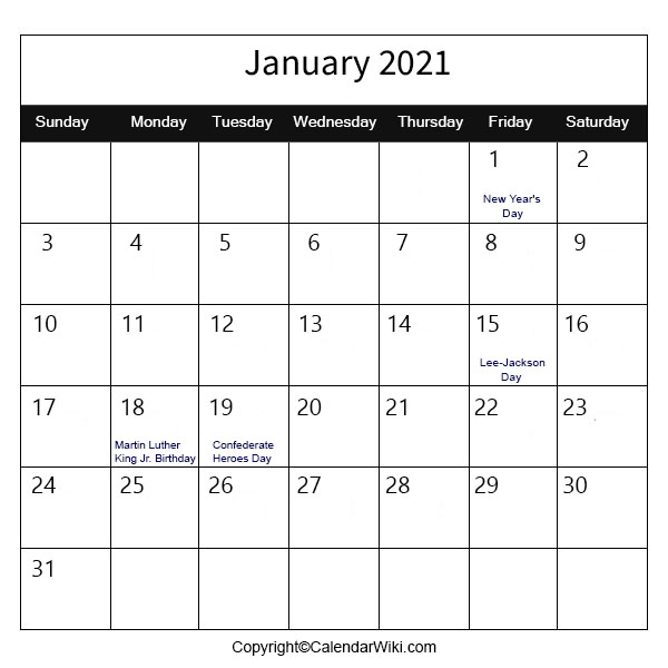 January Holidays 2021