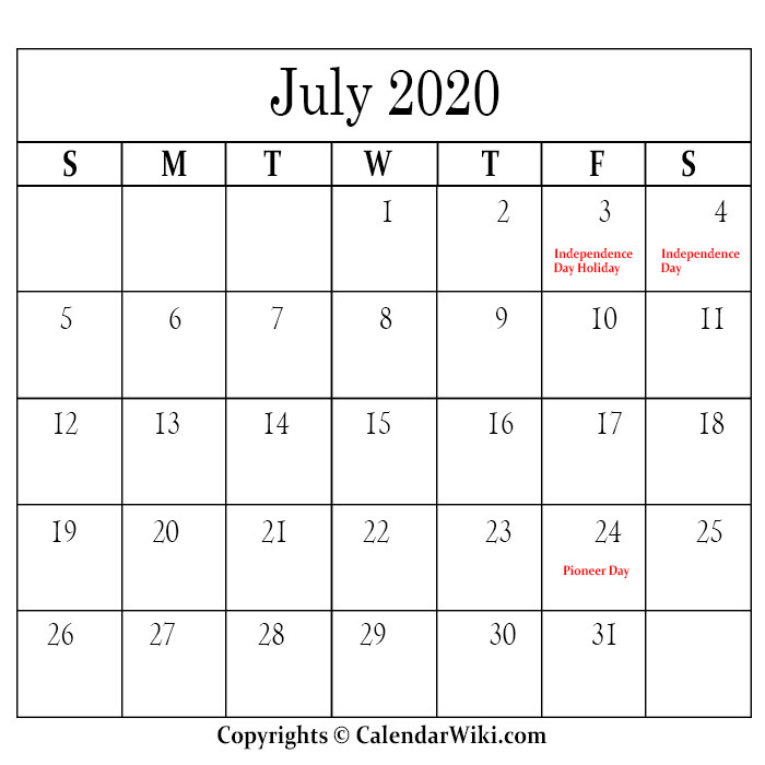 July Holidays 2020