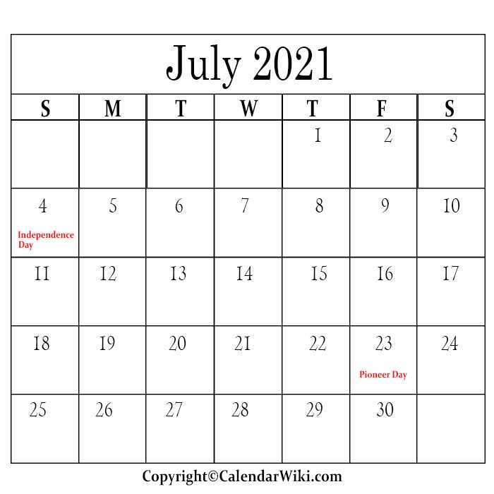 July Holidays 2021