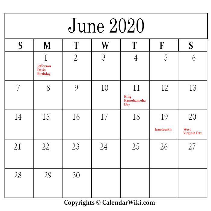 June Calendar 2020 With Holidays