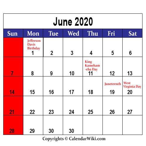 June Holidays 2020
