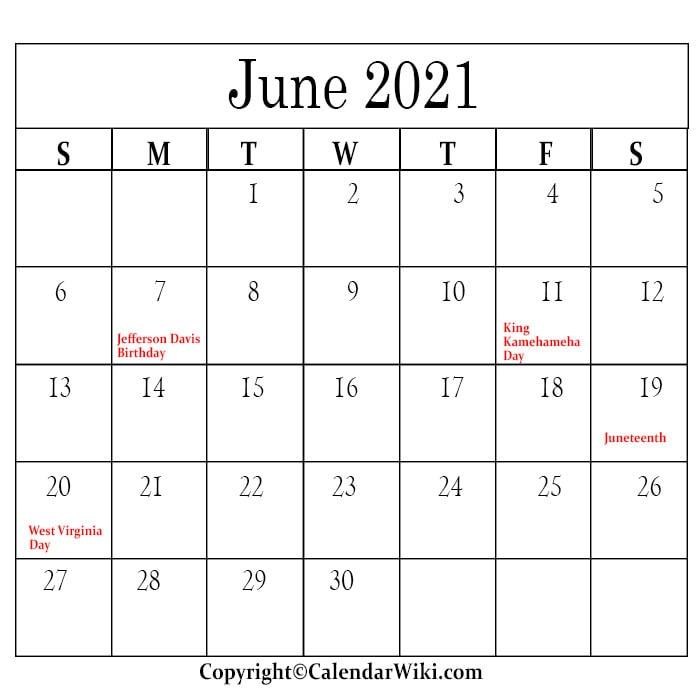 June Holidays 2021