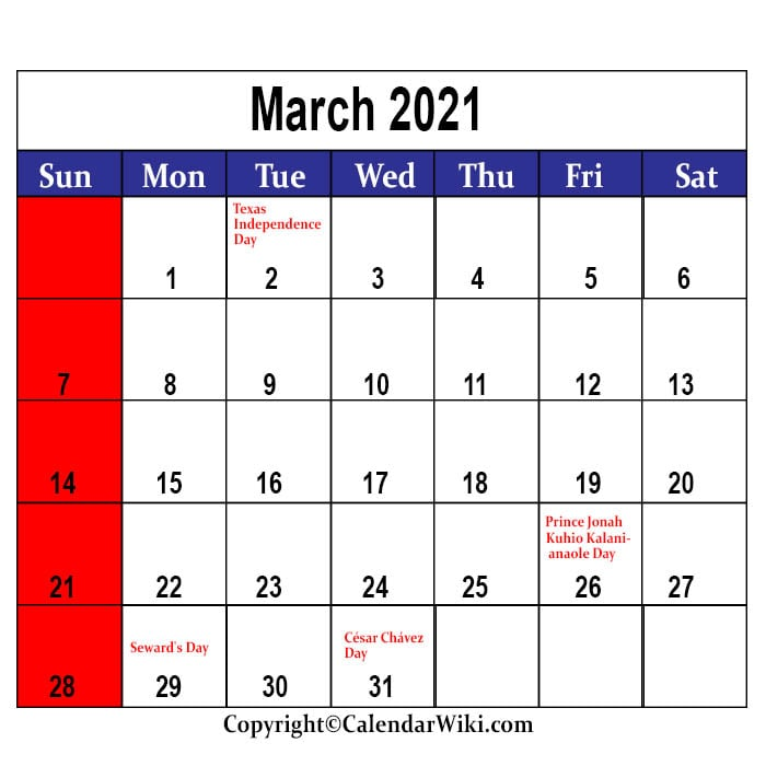 March Calendar 2021 With Holidays