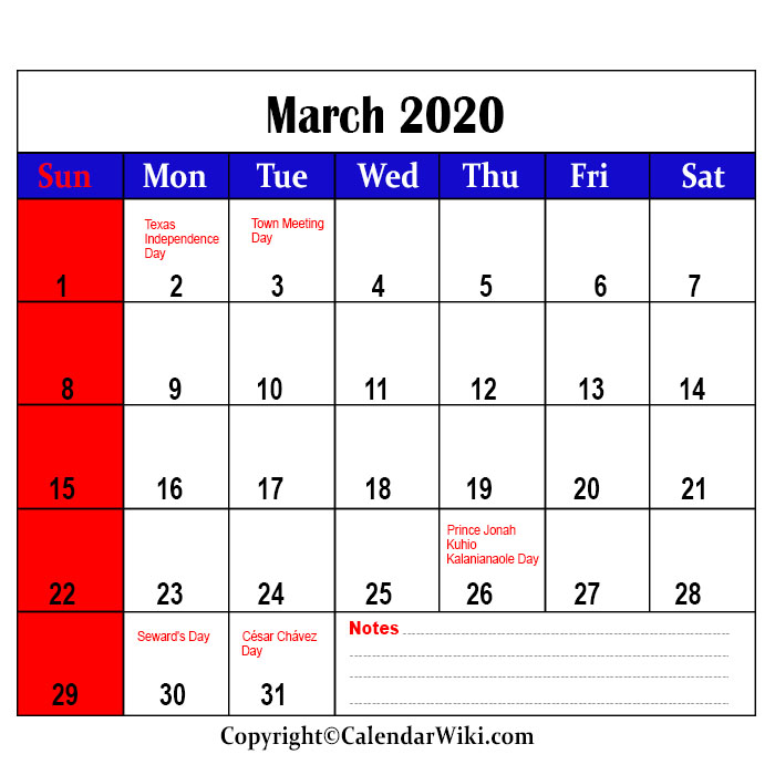 March Holidays 2020