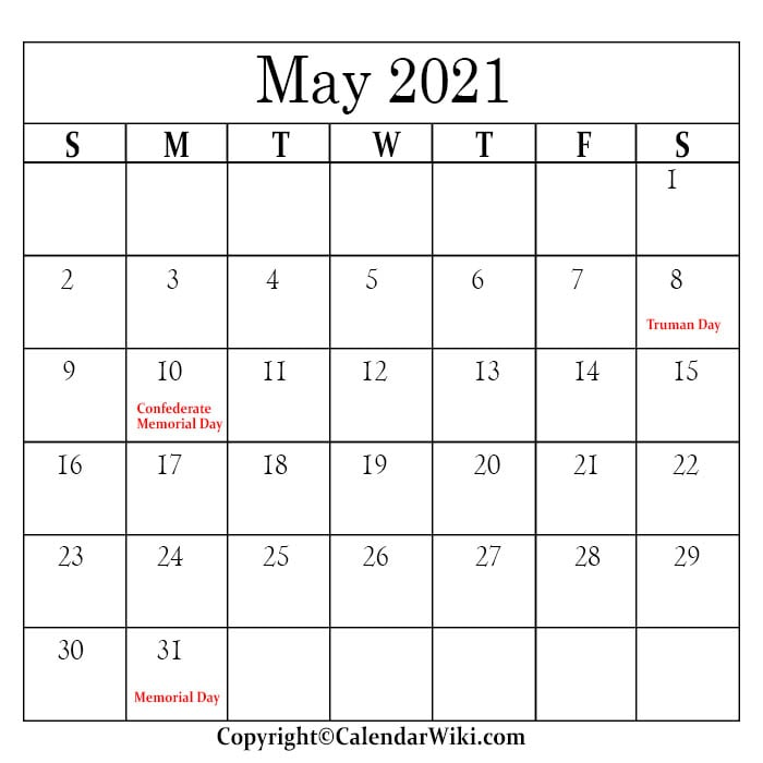 May Calendar 2021 With Holidays