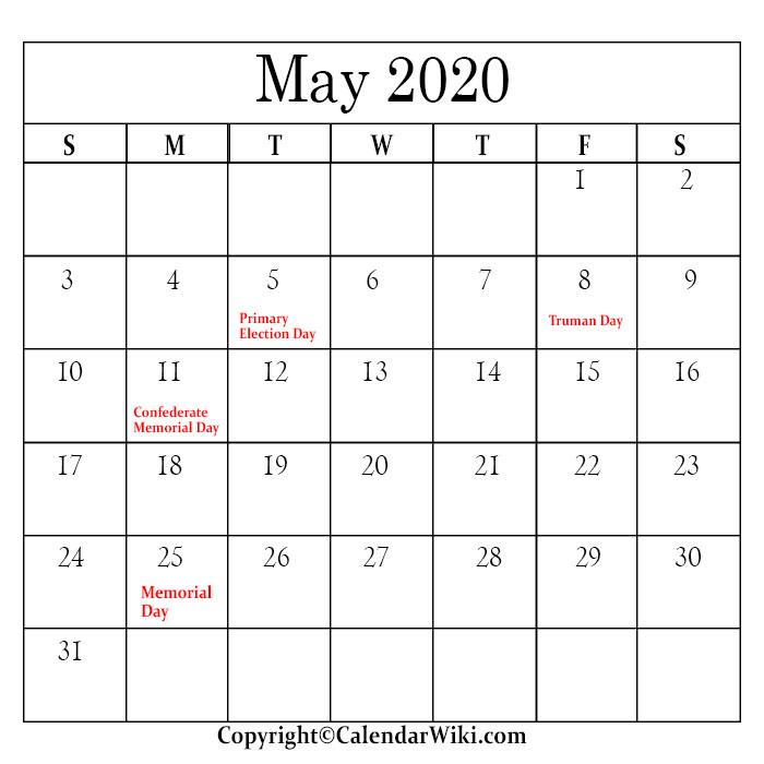 May Holidays 2020