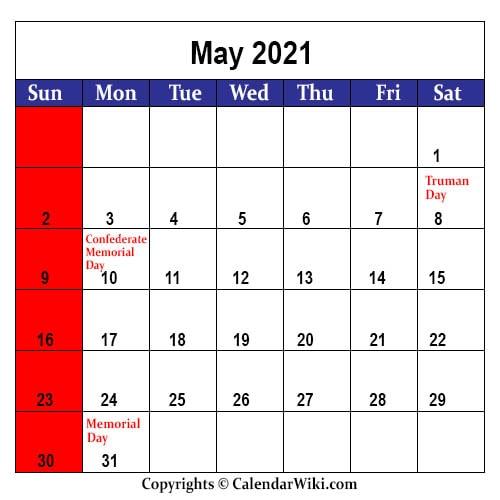May Holidays 2021