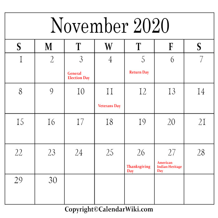 November Calendar 2020 With Holidays