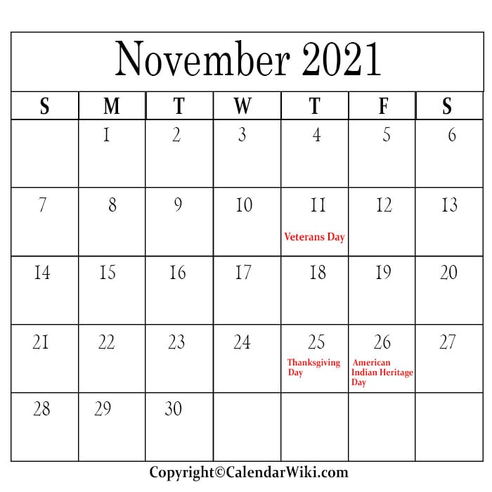 November Calendar 2021 With Holidays