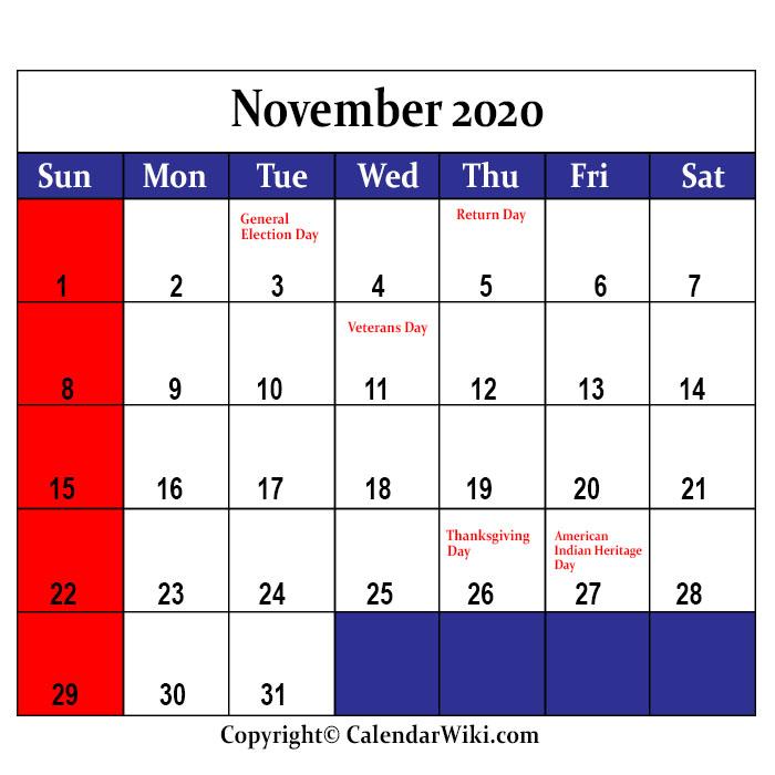 November Holidays 2020