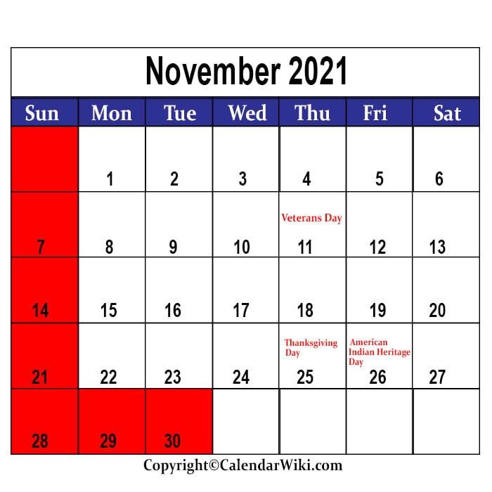 November Holidays 2021