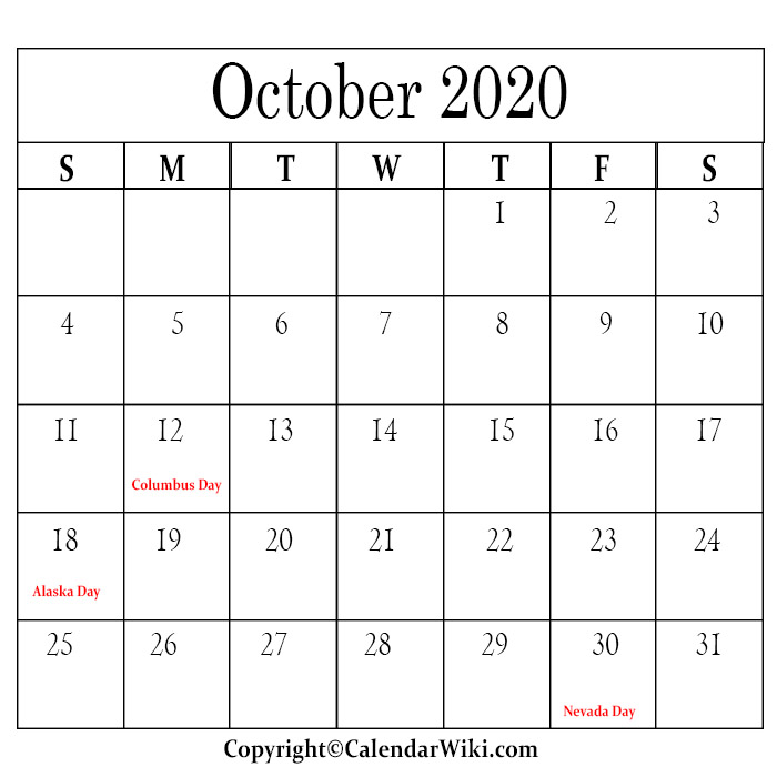 October Calendar 2020 With Holidays