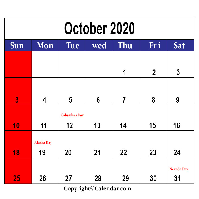 October Holidays 2020