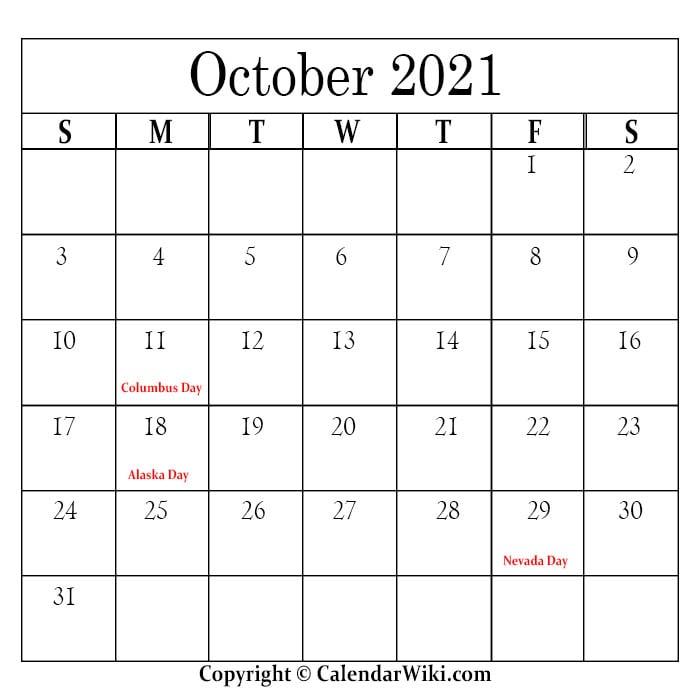 October Holidays 2021