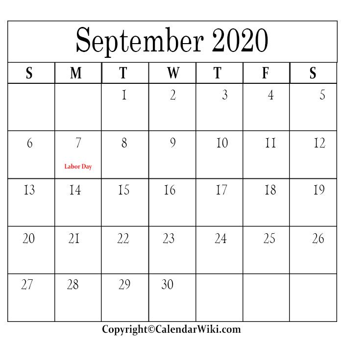 September Calendar 2020 With Holidays
