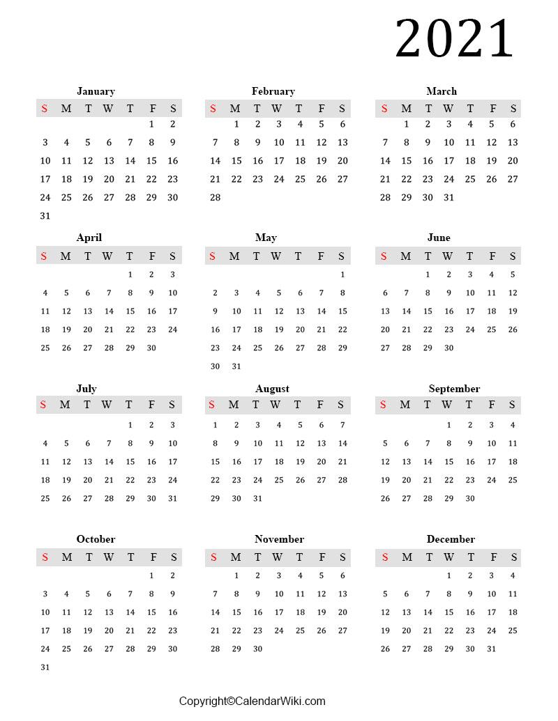 2021 Annual Calendar