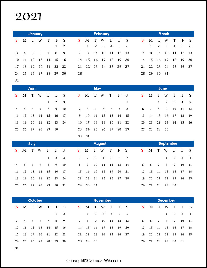 Free Printable Calendar 2021 Templates PDF, Word
